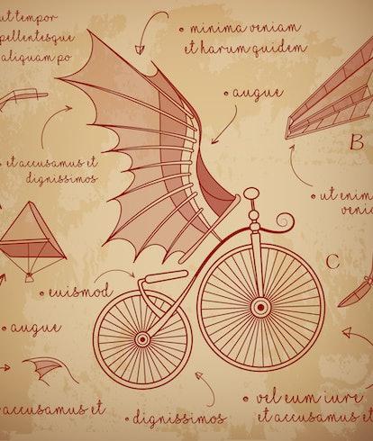 Leonardo da Vinci style sketch. Designs for flying machines. Retro bicycle with da Vinci style wings. Vector illustration.