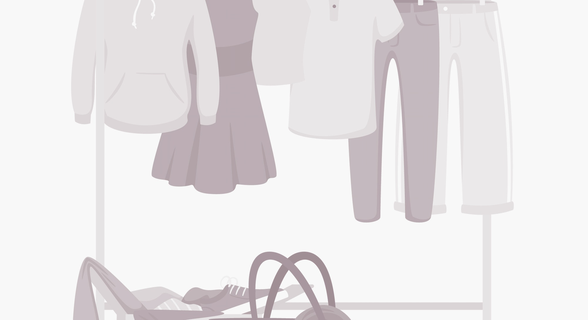Clothes and accessories hanging on rack vector illustration. Fashion boutique, showroom assortment. Female personal wardrobe, closet. Trousers, summer dress on hangers. Woman bag and shoes in box