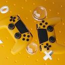 Digital Art of Black Yellow Gamepad Background 3D Rendering