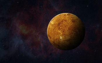View of planet Venus from space. Space, nebula and planet Venus. This image elements furnished by NASA.