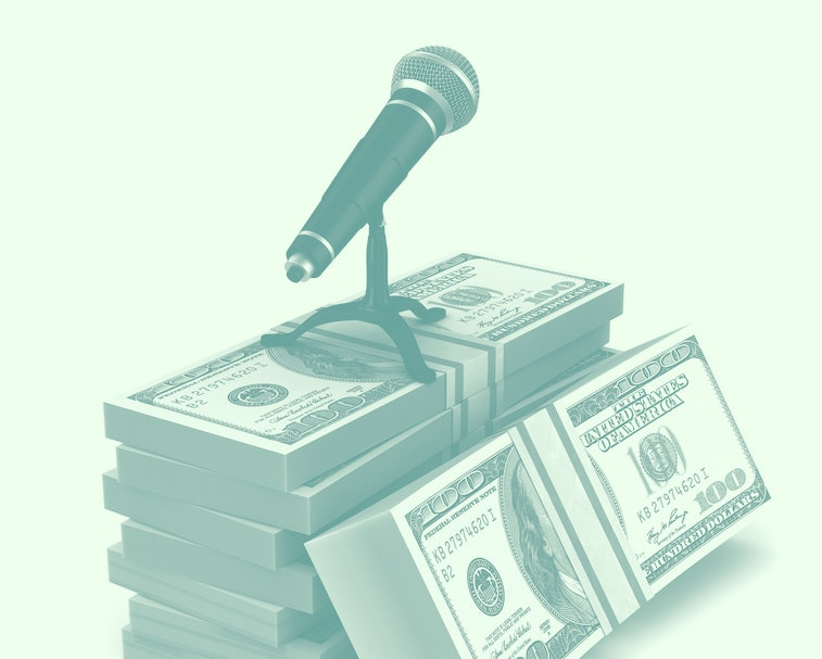 microphone and money on white background. Isolated 3D illustration