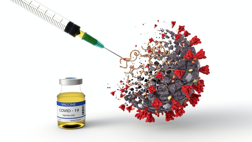 Realistic 3D Illustration of COVID-19 Vaccine. Corona Virus SARS CoV 2, 2019 nCoV virus destruction.  A vaccin against coronavirus disease 2019. Breakthrough in the Creating of a COVID-19 Vaccine.