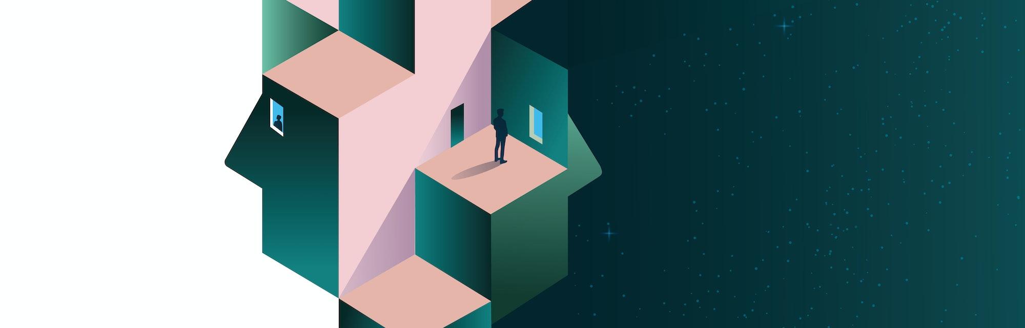 Psychology concept vector illustration. Mental health, depression, seasonal affected, sleep disorder. Psychiatry, philosophy.