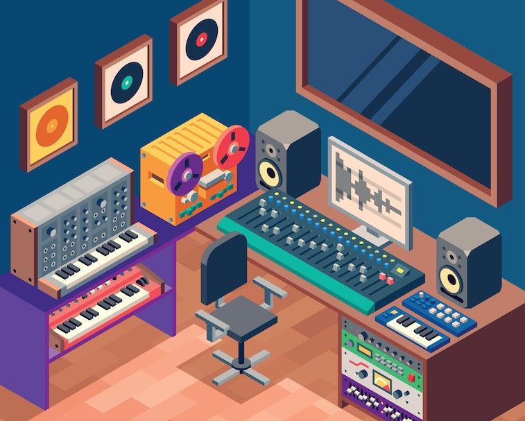Music Sound Recording Studio Control Room With Professional Equipment. Isometric Vector Color Illustration.