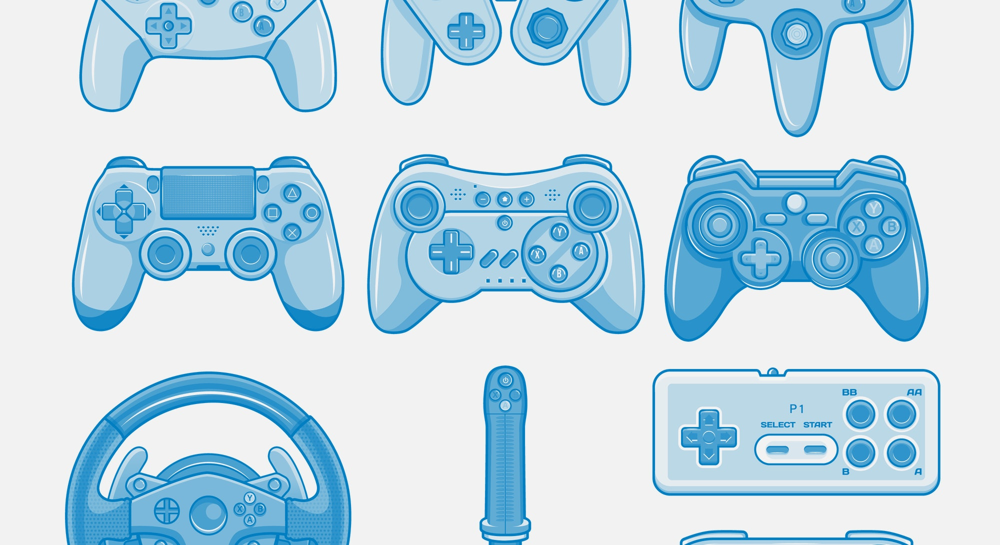 Game controller. Video game console controller vector isolated icon set. Joystick of retro and modern game console. Accessory device for video game players.