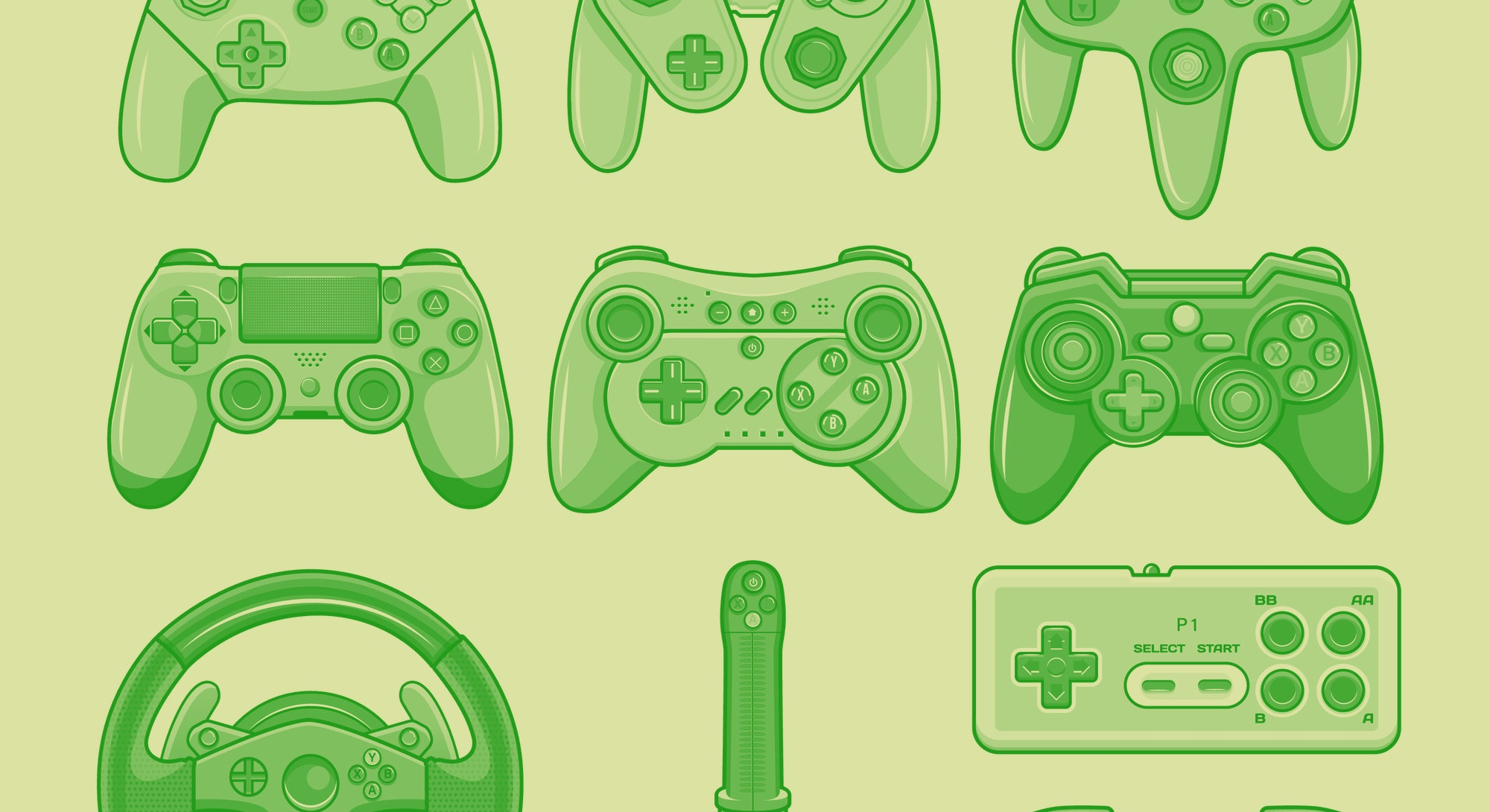 Game controller. Video game console controller vector isolated icon set. Joystick of retro and moder...