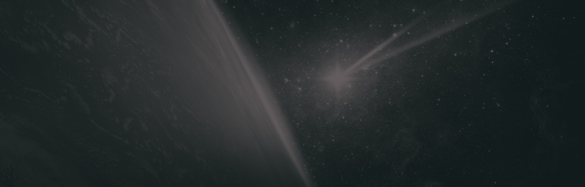 Comet, asteroid, meteorite flying to the planet Earth. Glowing asteroid and tail of a falling comet ...