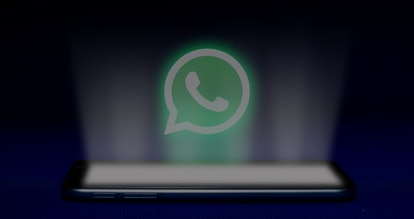 Magelang, Central Java, Indonesia, April 29, 2019.Hologram of whatsapp logo. hologram whatsapp logo image on blue background . The concept of next technology,social media, - Image