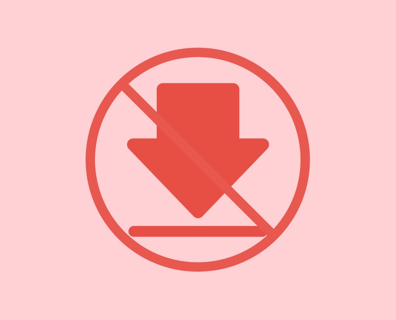 No or Stop. Download icon. Internet Downloading sign. Load file symbol. Prohibited ban stop symbol. No downloading icon. Vector