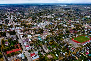 Small town from above. Small town aerial.