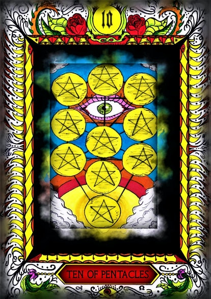 Customized  Tarot Card. Ten of pentacles. Hand drawn. All of the cards available!