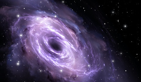 Black hole in the nebula, gravitational field