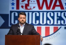 Chairman of the Iowa Democratic Party Troy Price addresses the media about the results of the Iowa c...