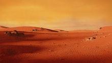landscape on planet Mars, scenic desert scene on the red planet (3d space illustration)