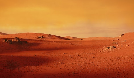landscape on planet Mars, scenic desert scene on the red planet (3d space illustration)