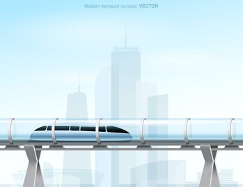 Futuristic concept of magnetic levitation train moving on the skyway in a vacuum tunnel across the city. Modern city transport. Hyperloop. Vector illustration