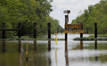 A sign and barrier for an existing pipeline is displayed on Bayou Sorrel in the Atchafalaya River Ba...