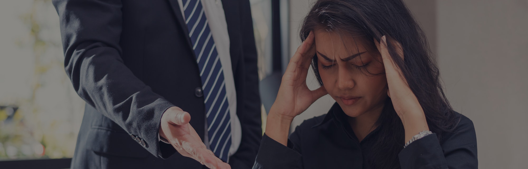 woman employee stressed and feeling frustrated,Secretary suffering from headache under boss pressure