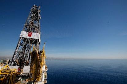 Akiko, Recep Tayyip Erdogan. On, Turkey's new drillship 'Conquerer' is seen off the coast of Antalya...