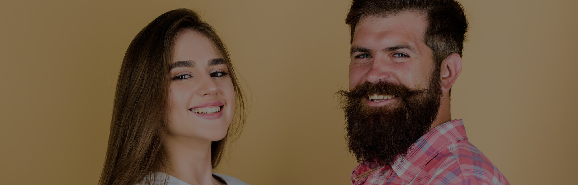 Life together. happy couple. couple in love. bearded man hipster with girl. hairdresser and barber concept. male and female fashion. valentines day. sexy woman and brutal guy with beard.