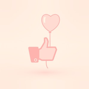 Hand holding heart baloon icon. Thumb up. Template dedicated to love and summer .