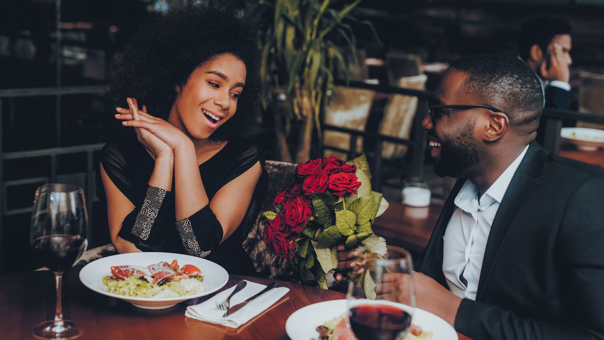 African American Couple Dating in Restaurant. Romantic Couple in Love Dating. Cutel Man and Girl in ...