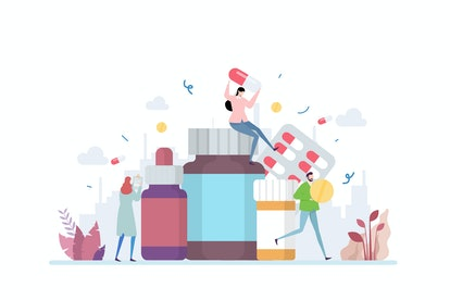 Medication Vector Illustration Concept Showing a various type of medical medicine, Suitable for land...