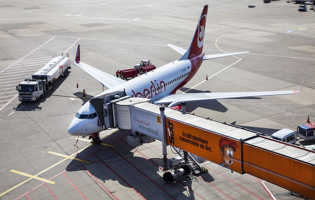 An Air Berlin Boeing 737 at the gate, check-in, loading, unloading, catering, refuelling, baggage lo...