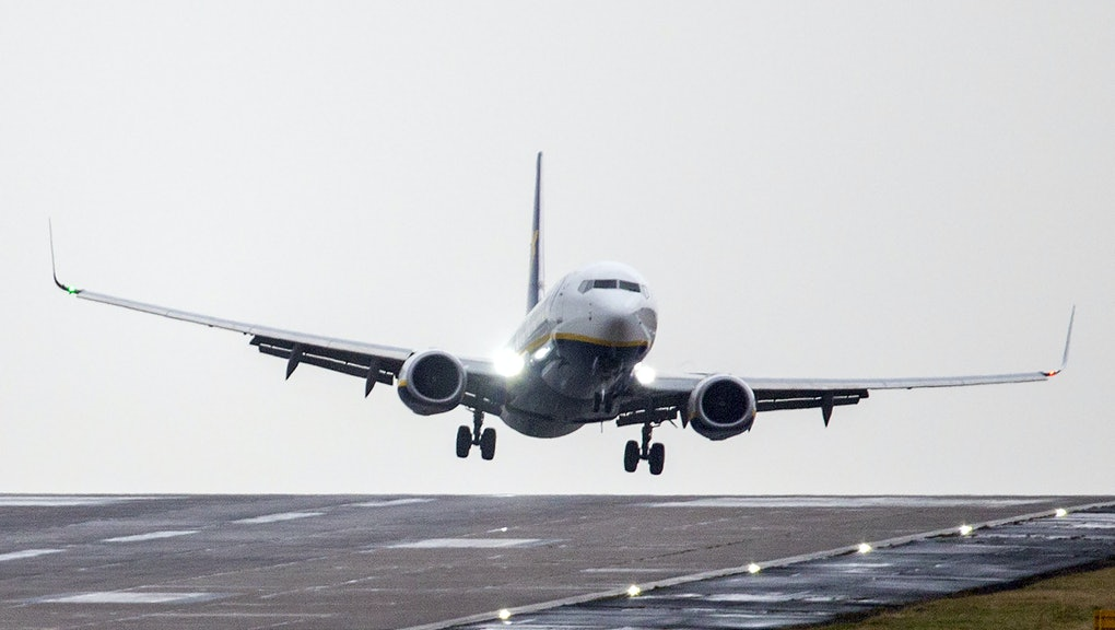 A Ryanair aircraft arriving from Gdansk struggles to land in strong winds at Leeds Bradford airport this morning as the UK continues to feel the effect of Storm Ciara.