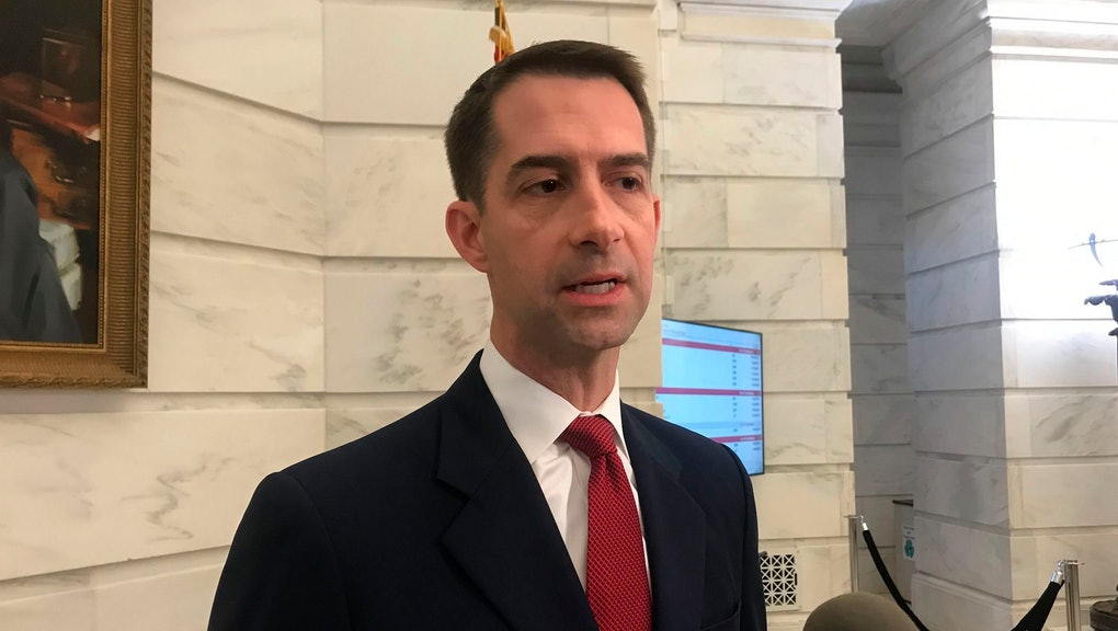Republican U.S. Sen. Tom Cotton talks to reporters after filing for re-election at the Arkansas state Capitol in Little Rock, Arkansas. Josh Mahony, the Democratic candidate hoping to unseat Cotton in Arkansas has dropped out of the race, citing a family health concern. Josh Mahony announced on Twitter, that he was dropping out of the race, hours after the filing deadline for Arkansas expired. Mahony was the only Democrat who had filed to run against Cotton
