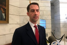 Republican U.S. Sen. Tom Cotton talks to reporters after filing for re-election at the Arkansas stat...