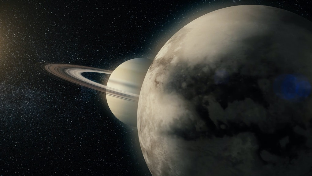Saturn and his ring system. View of Saturn from Titan. Titan Saturn moon