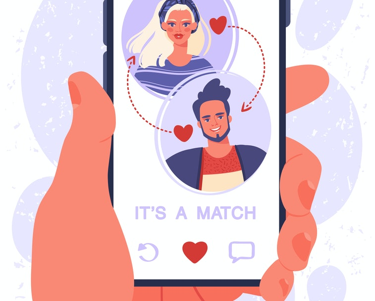 Male hand with smartphone. Online dating app concept on phone screen. Two young people liked each other. Their interest coincided. Now they can chat and go on date in real life, cause IT'S A MATCH.