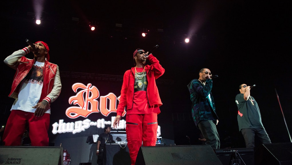 Wish Bone, Layzie Bone, Krayzie Bone, Flesh-n-Bone. Bones Thugs-n-Harmony performs onstage at State Farm Arena, in Atlanta