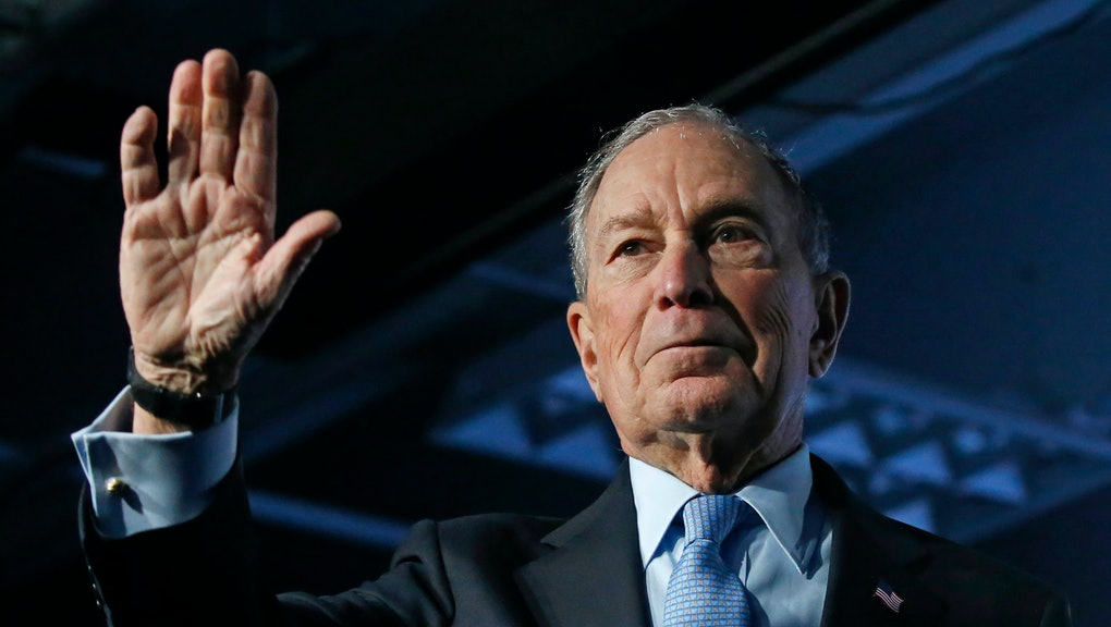 Democratic presidential candidate and former New York City Mayor Mike Bloomberg waves after speaking at a campaign event, in Salt Lake City
