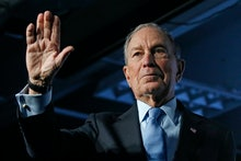 Democratic presidential candidate and former New York City Mayor Mike Bloomberg waves after speaking...