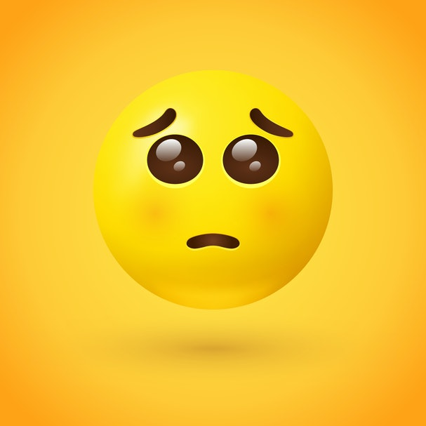Pleading face emoji - emoticon with a small frown, and large puppy dog eyes, as if begging or pleading - may also represent adoration or feeling touched by a loving gesture