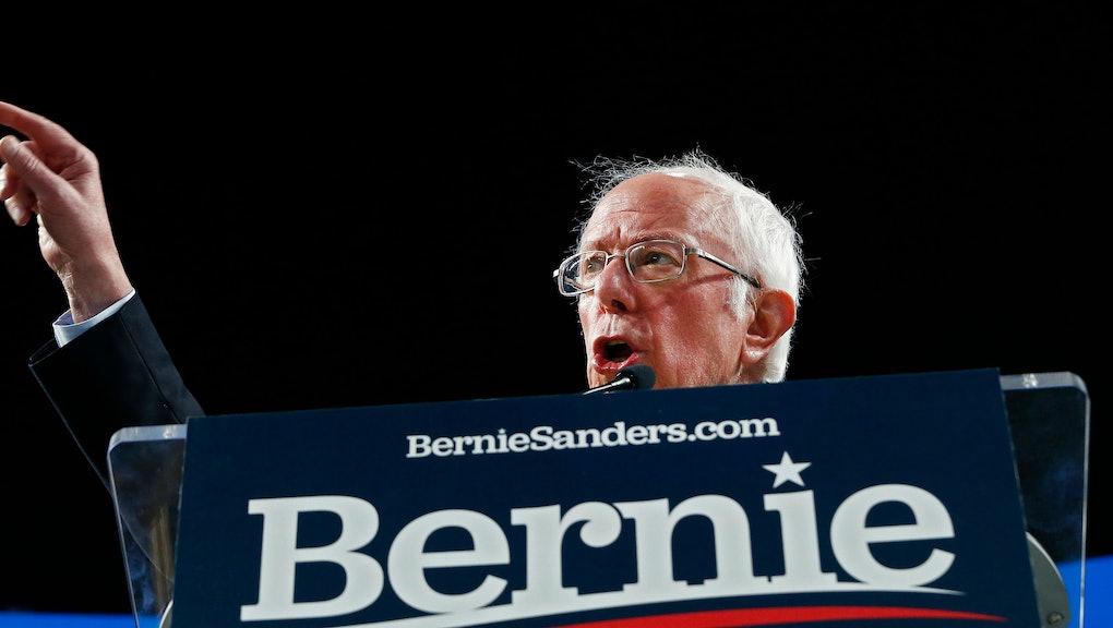 Democratic presidential candidate Senator Bernie Sanders speaks at a rally inside the University of Houston Fertitta Center in Houston, Texas, USA, 23 February 2020.