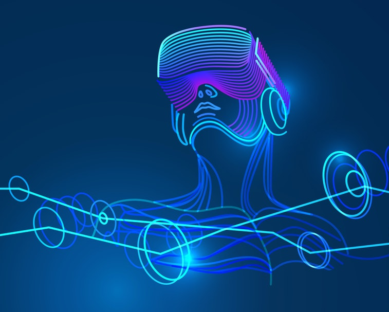 A sketch of a man wearing virtual reality glasses is seen. The lines are neon green, purple, and blu...