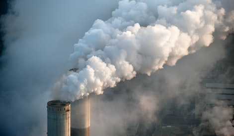 smoking chimney of a coal power plant