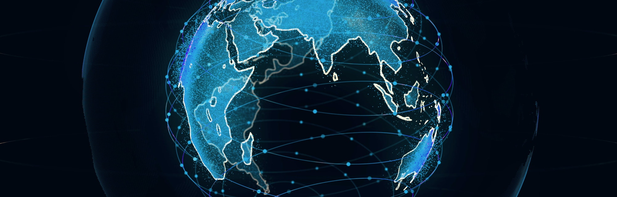 Global network connection the world abstract 3D rendering satellites starlink. satellites create oneweb or skybridge surrounding planet conveying complexity big data flood the modern digital