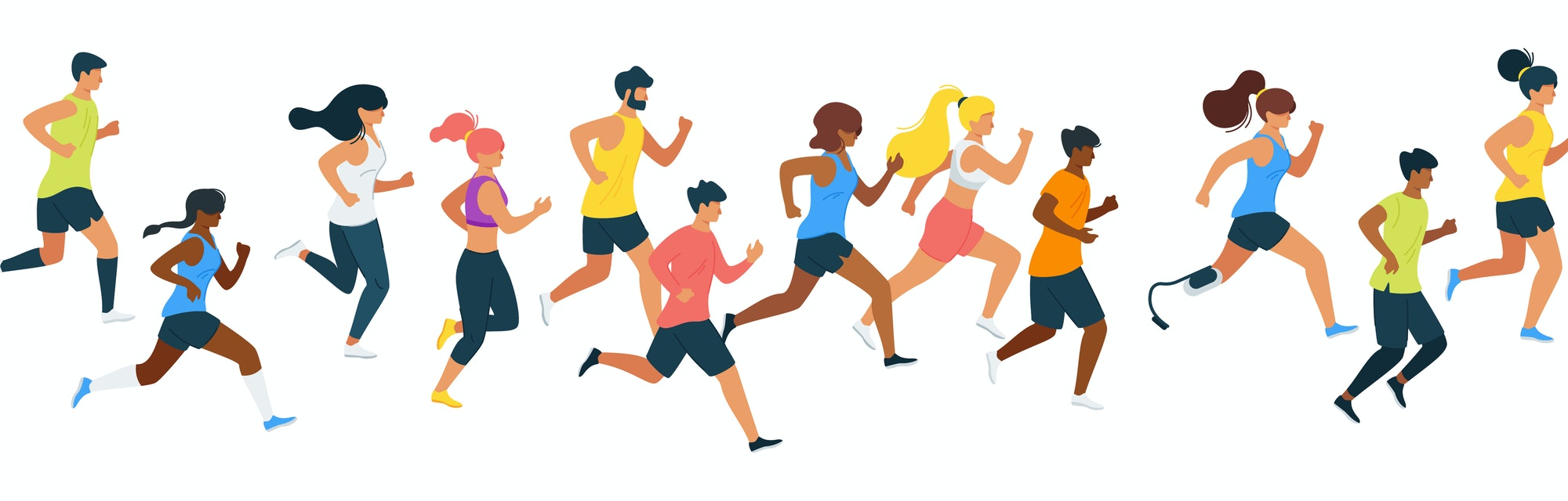 Running people flat vector illustration. Multiracial runners, athletes, sportive men and women cartoon characters. Marathon, exercise and athletics. Sport training isolated design element