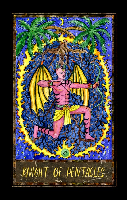 Knight of pentacles. Minor Arcana tarot card. The Magic Gate deck. Fantasy graphic illustration with occult magic symbols, gothic and esoteric concept