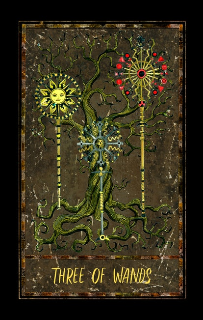 Three of wands. Minor Arcana tarot card. The Magic Gate deck. Fantasy graphic illustration with occult magic symbols, gothic and esoteric concept