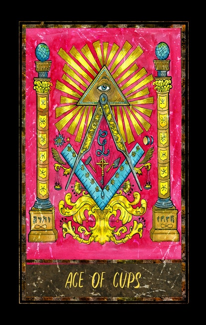 Ace of cups. Minor Arcana tarot card. The Magic Gate deck. Fantasy graphic illustration with occult magic symbols, gothic and esoteric concept