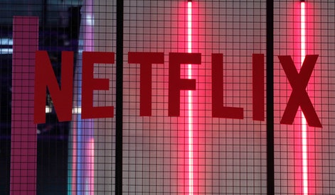 The logo of American entertainment company Netflix is pictured at the Paris games week in Paris