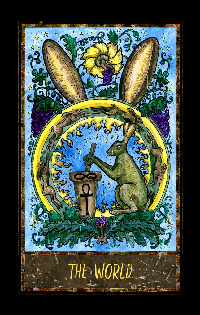 World. Major Arcana tarot card. The Magic Gate deck. Fantasy graphic illustration with occult magic symbols, gothic and esoteric concept