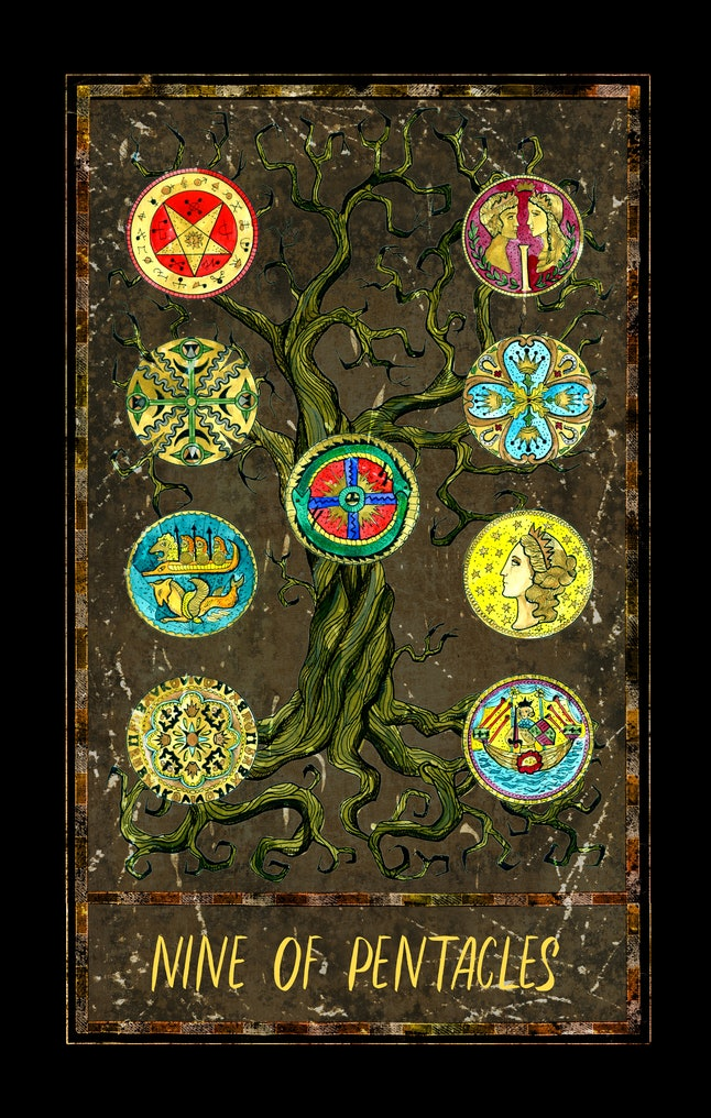 Nine of pentacles. Minor Arcana tarot card. The Magic Gate deck. Fantasy graphic illustration with occult magic symbols, gothic and esoteric concept