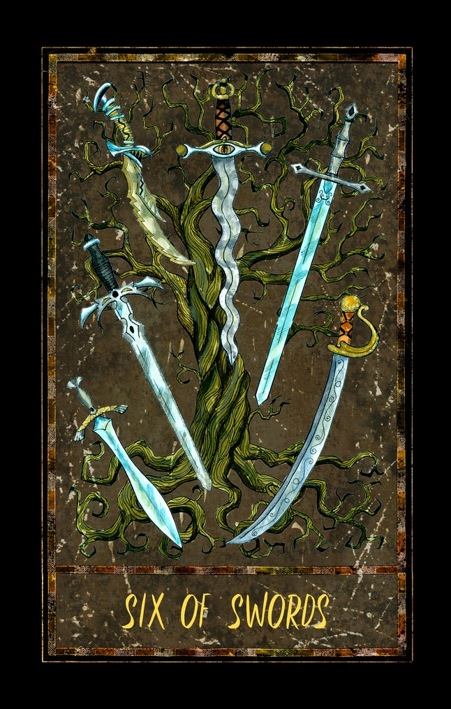 Four of swords. Minor Arcana tarot card. The Magic Gate deck. Fantasy graphic illustration with occult magic symbols, gothic and esoteric concept