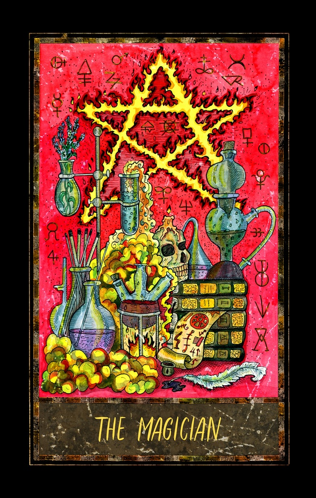 Magician. Major Arcana tarot card. The Magic Gate deck. Fantasy graphic illustration with occult magic symbols, gothic and esoteric concept